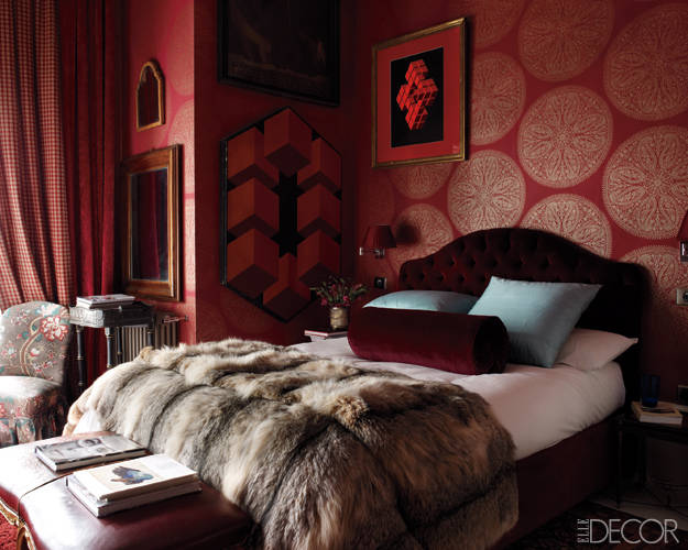 glam red bedroom