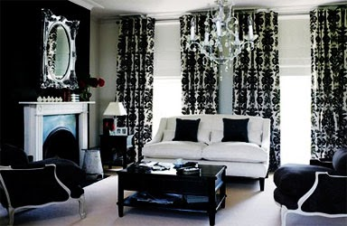 glamorous living room in black and white