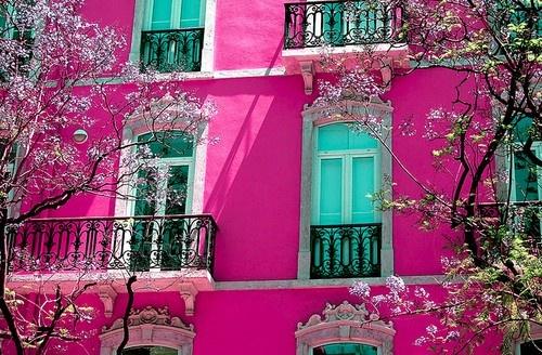 aqua and pink fascade