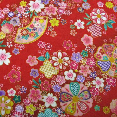 Red floral Japanese fabric