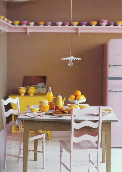 light pastel pink and yellow interior