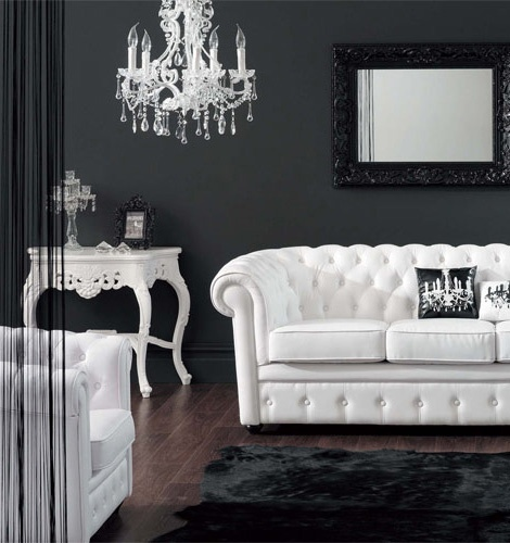 Black and white living room glamour panda 39 s house Room with black walls
