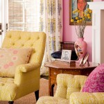 yellow and pink living room