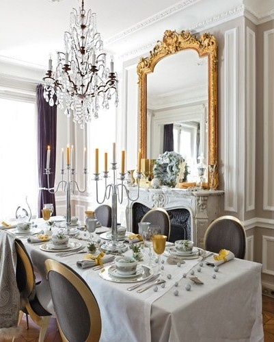 gold and white french dining room