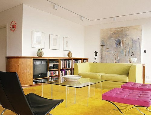 yellow and pink interior