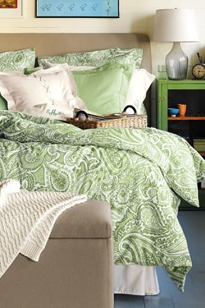 paisley bedroom in green and white