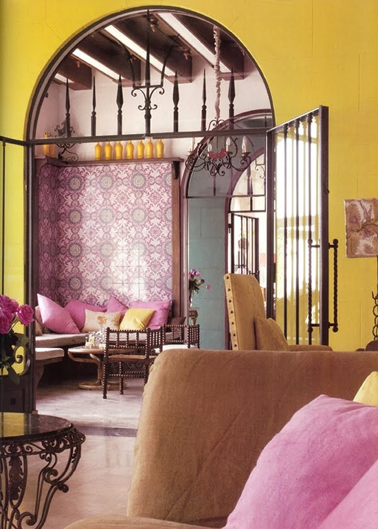 pink and yellow boho interior design