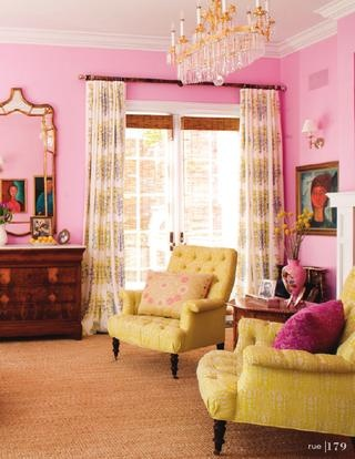 yellow and pink french interior