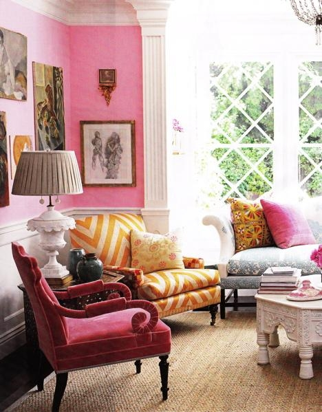 pink and yellow interiors