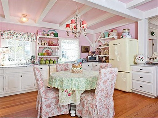 pink shabby chic kitchen