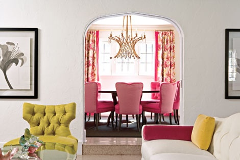 lining and dining interior design in yellow and pink