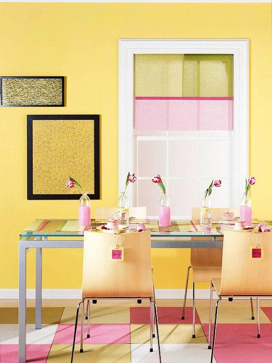 yellow and pink dining