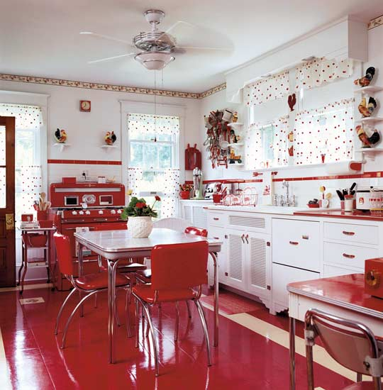 Red retro kitchen panda 39 s house - Retro flooring kitchen ...