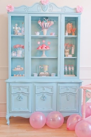 vintage cabinet in turquoise and pink