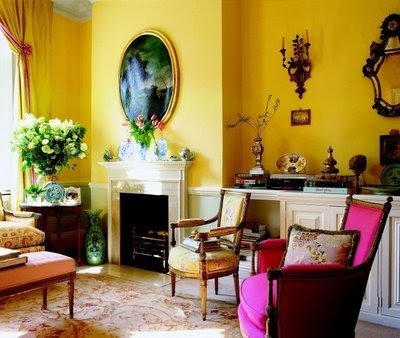 classic french interior in yellow and pink