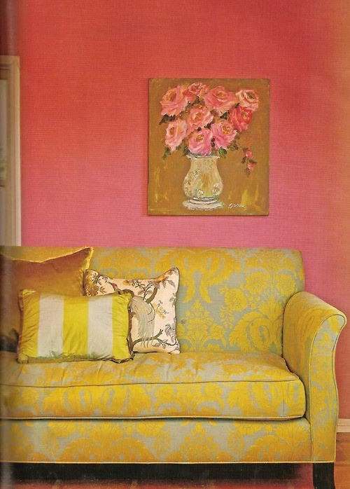 yellow and pink damask couch