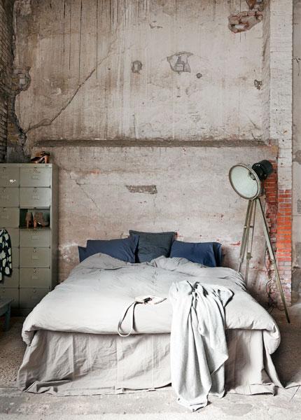 Industrial styled bedroom.