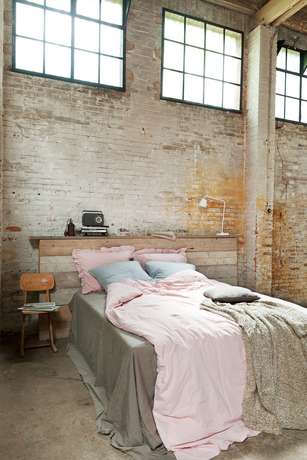 industrial styled bedroom