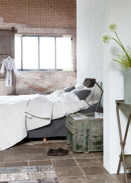 Industrial styled bedroom.