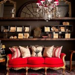 red and brow boho living room