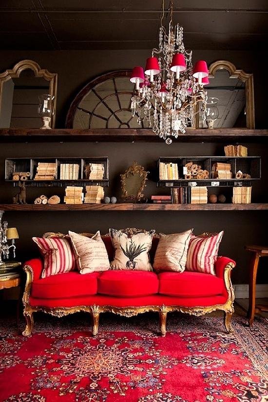 Lush Boho Living Room in Red - Panda's House
