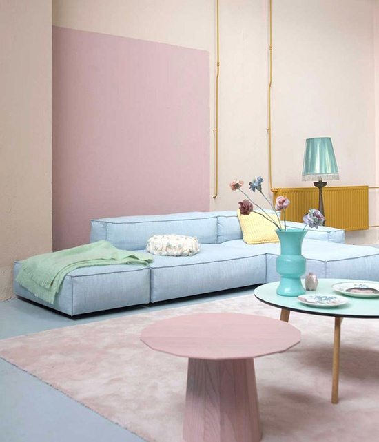 pastel colored living room