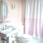 bathroom in pink and white