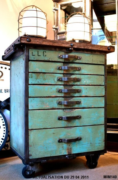 industrial turquoise cabinet