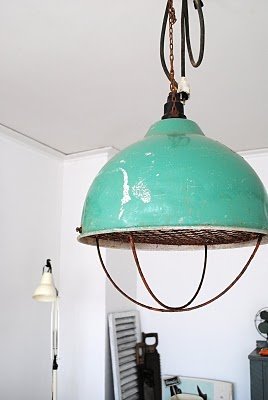 turquoise industrial lamp