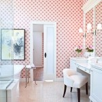 Bathroom in light pink and white.