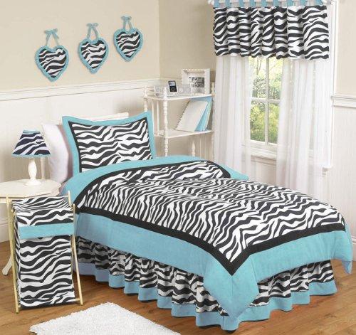 Turquoise Funky Zebra Teen Bedding