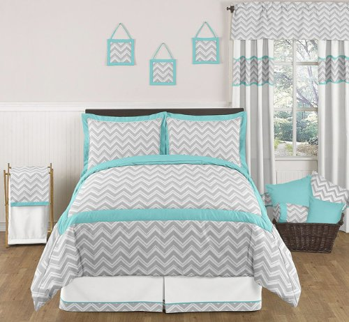 Turquoise and Gray Zig Zag bedding buy