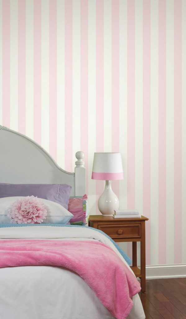 light pink and white stripe wallpaper
