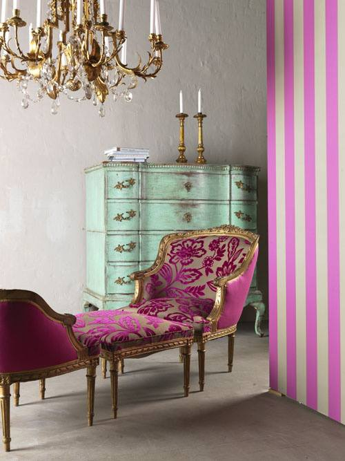 pink and light turquoise glam boho room