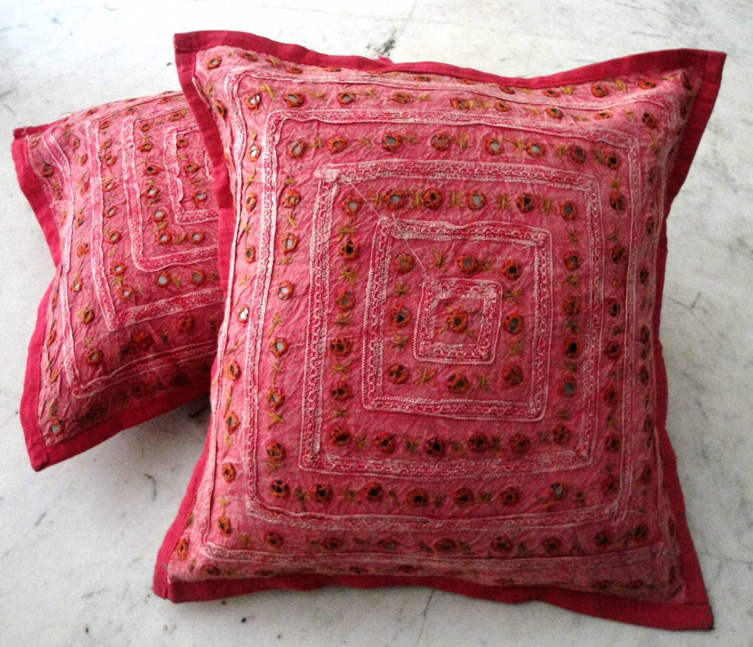 red boho throw pillow