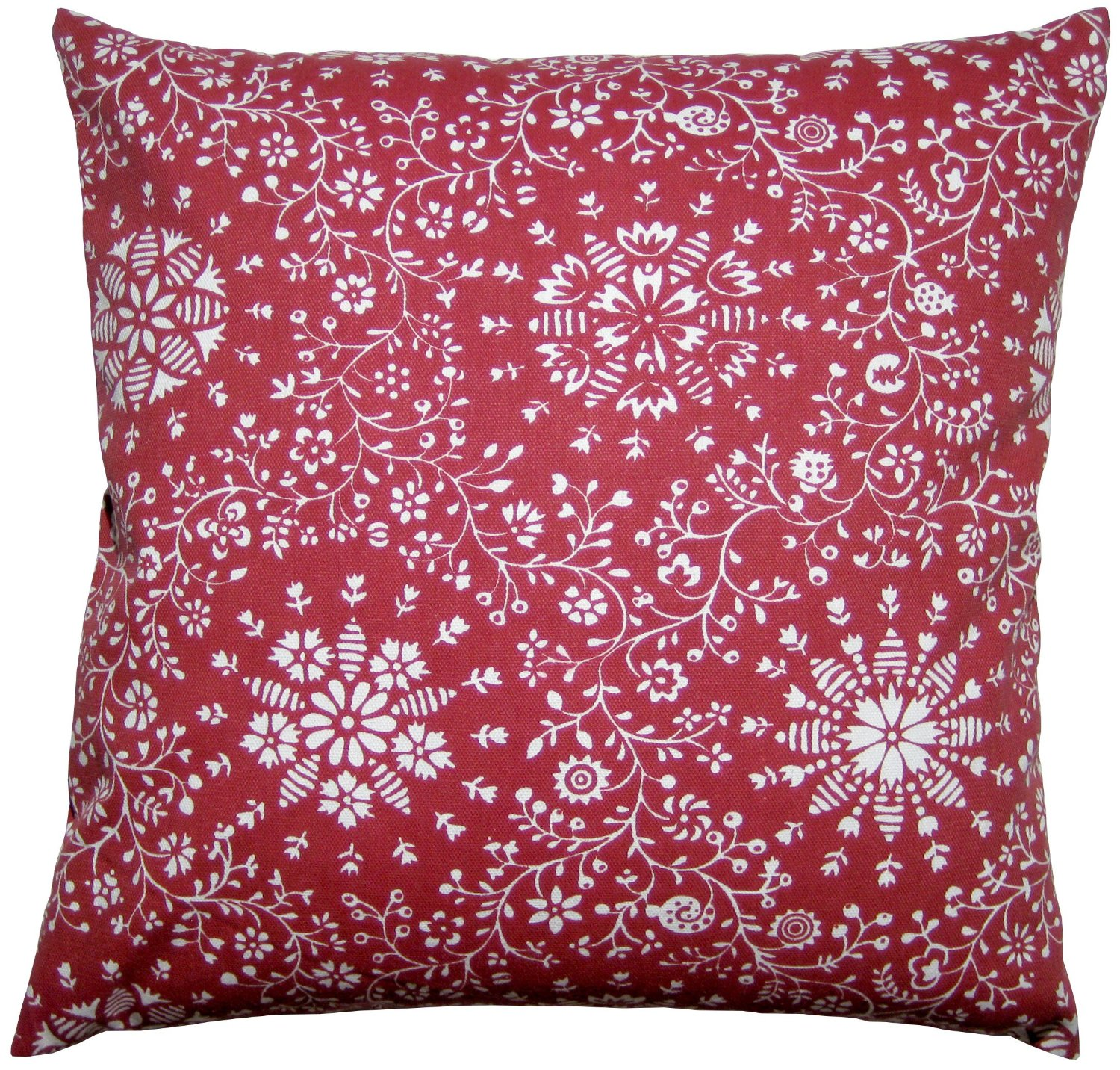 red floral print throw pillow