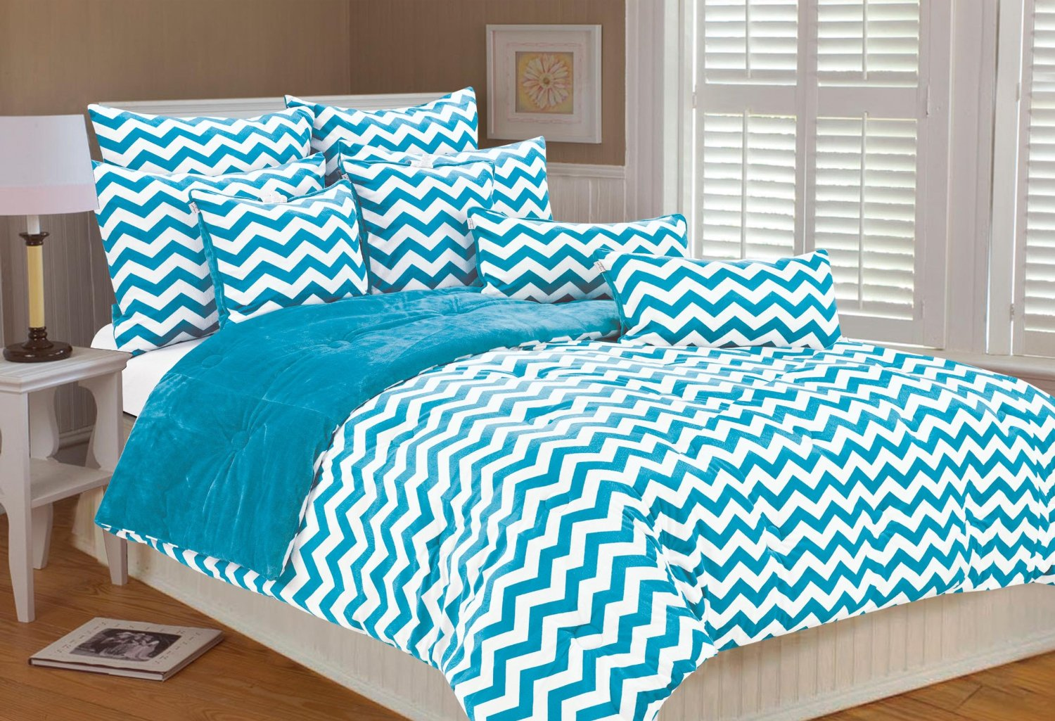 pink chevron teen bedding white blue turquoise