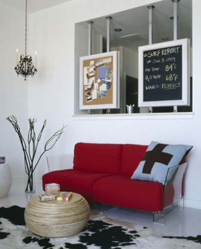modern living room red and white