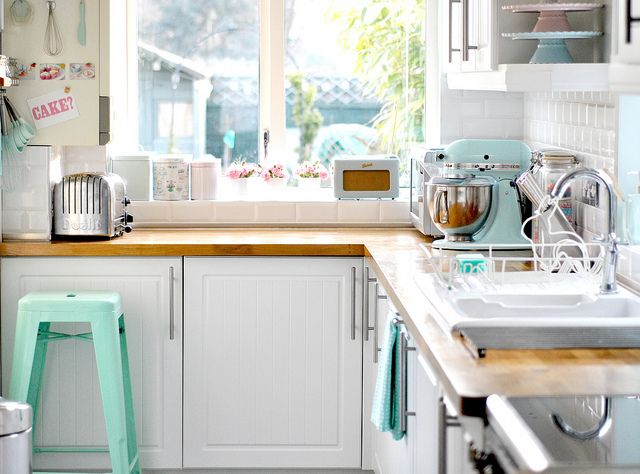 kitchen in mint colors