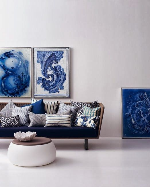 blue and white art living room