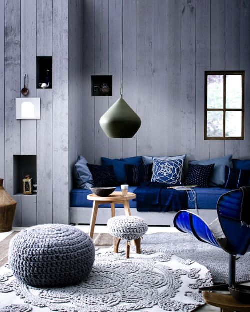crochet blue living room