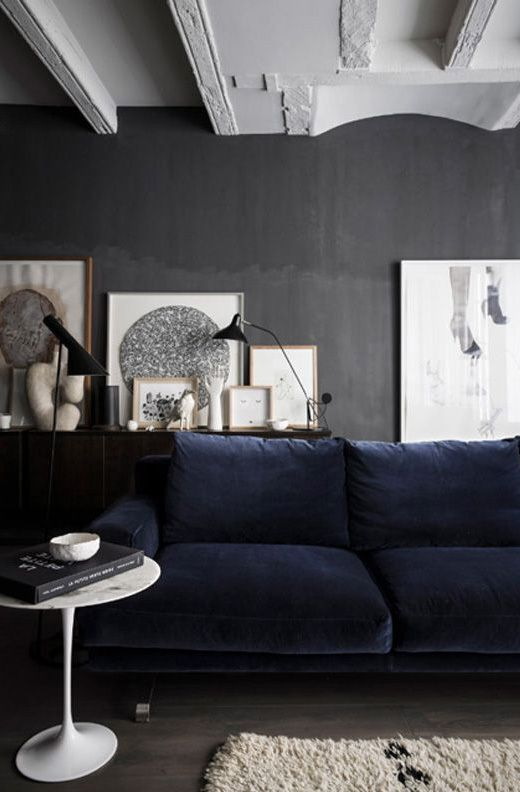 ceilings dark grey walls and a gorgeous inky blue velvet sofa