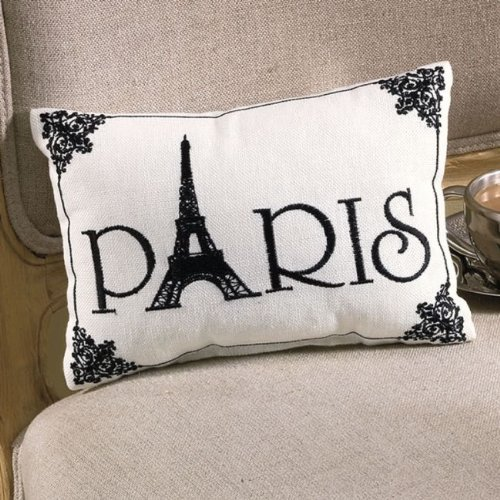 Embroidered Paris pillow buy