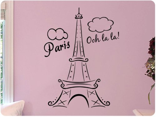 Paris Eiffel Tower Ooh La La Wall Decal Decor F