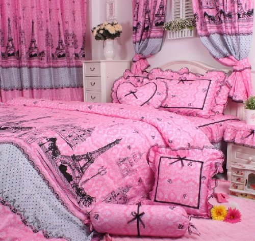 pink paris bedding