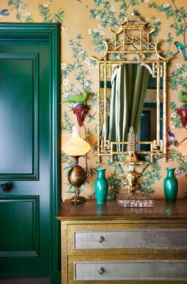 foyer chinoiserir green gold