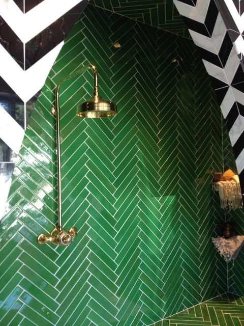 green chevron tiled walls and floors
