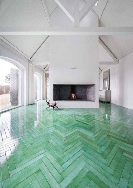 green chevron tiles