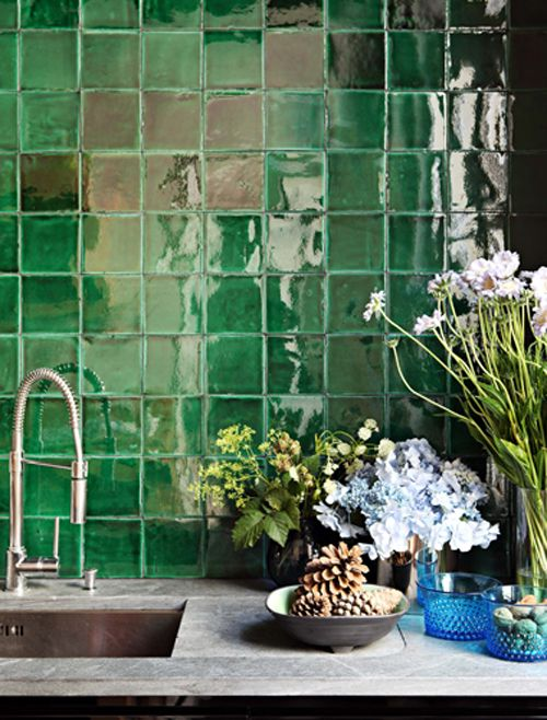 green wall tiles kitchen