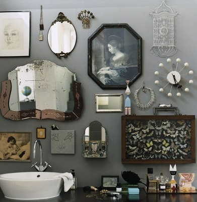 grey walls vintage pictures and mirrors